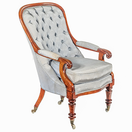 Victorian Mahogany Armchair with Diamond Buttoned Upholstery in Pale Blue Circa 1870