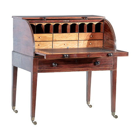 George III Mahogany and Sycamore Lined Cylinder Top Writing Desk Circa 1800